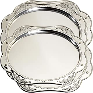 Maro Megastore (Pack of 4) 12.8-Inch x 10.2-Inch Oval Floral Shape Chrome Plated Serving Tray Decorative Stylish Wedding Birthday Buffet Party Dessert Food Art Decor Party Platter Plate 1969 S Ts-008