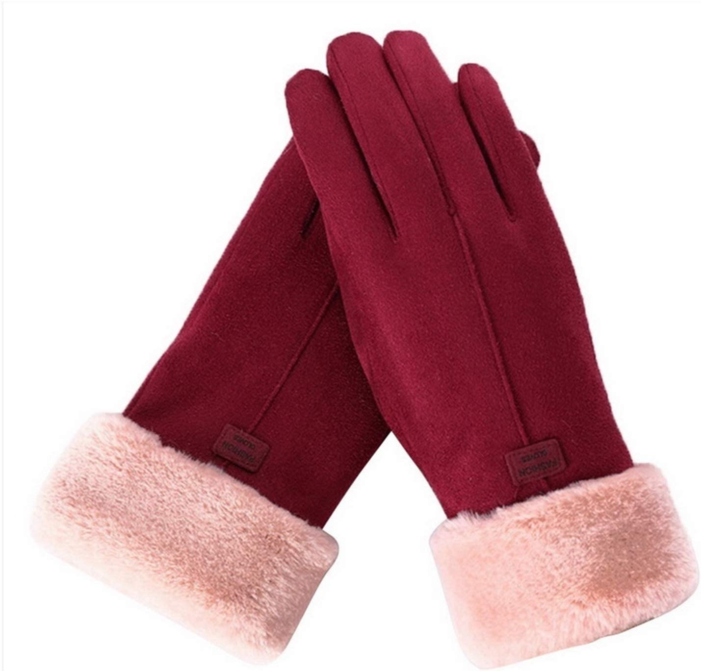 PENGYMY Winter Gloves Luxury Gloves Mitts Full Finger Mittens Right Index Finger Glove Thick Women Winter Warm (Color : Wine red)
