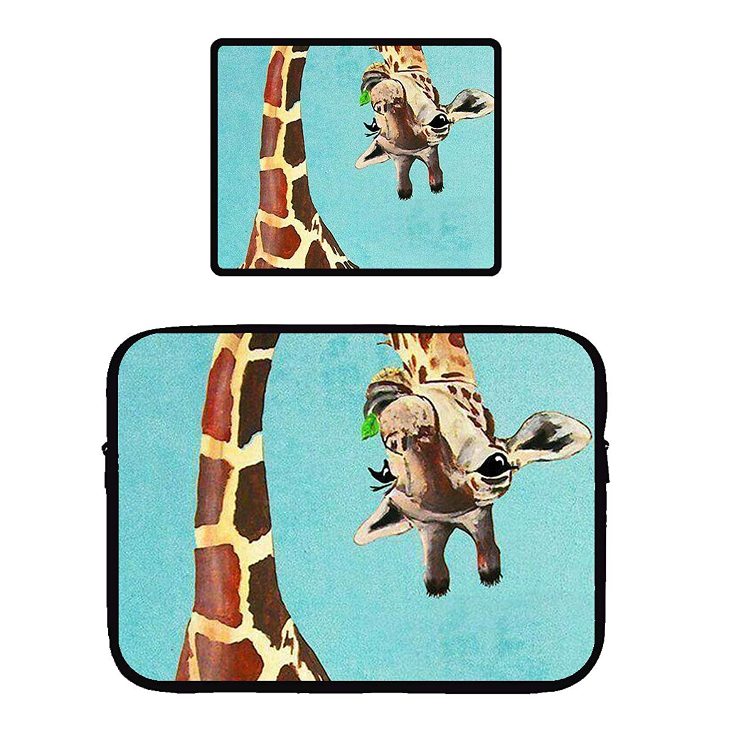 Beach Surfers Funny Giraffe Look at You Sky Blue Waterproof Laptop Computer Case Cover Sleeve & Mouse Pad Mousepad for Apple MacBook Air/Notebook/Netbook/Chromebook