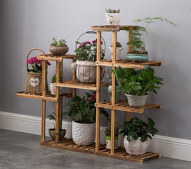 NYDZDM Multifunctional Solid Wood Shelf, Indoor Balcony Floor Multi-Layer Plant Stand (Size   C)