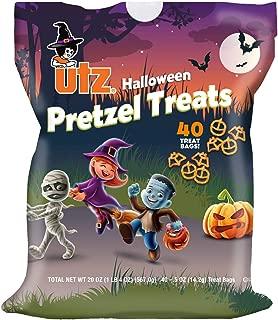 Utz Halloween Snack Pack Bags-18 Individual Cheddar Cheese Curls or 40 Individual Pretzel Treats (40 Count Pretzel Treats, 1 Bag)