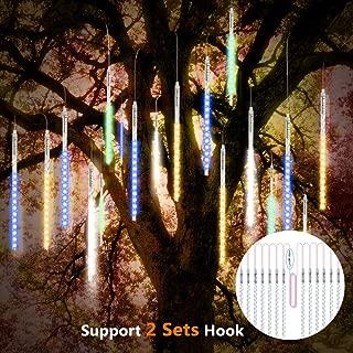 Vikdio Lluvia de Meteoritos Luces de Lluvia 30cm 10 Tubos en Espiral 300 Leds Impermeable Nieve Cayendo Luces de Cadena para la Decoración Hogar árbol Navidad, Soporte 2 Juegos de Gancho (Multicolor)