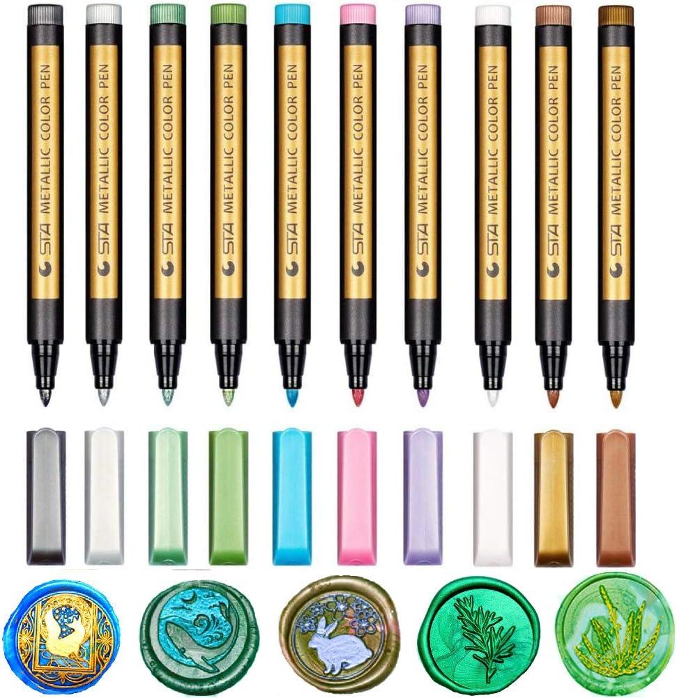 20Pcsbox Wax Seal Stamp Mark Pen Waxing Color Pens Decoration Wax Seal Metal Color Pen Metallic Wax Stamp Markers