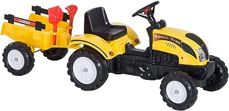 Homcom Tractor Pedal con Remolque para Niños 3-6 Años Juguete de Montar Coche de Pedales Carga 35kg 123x42x51cm Acero y Plástico