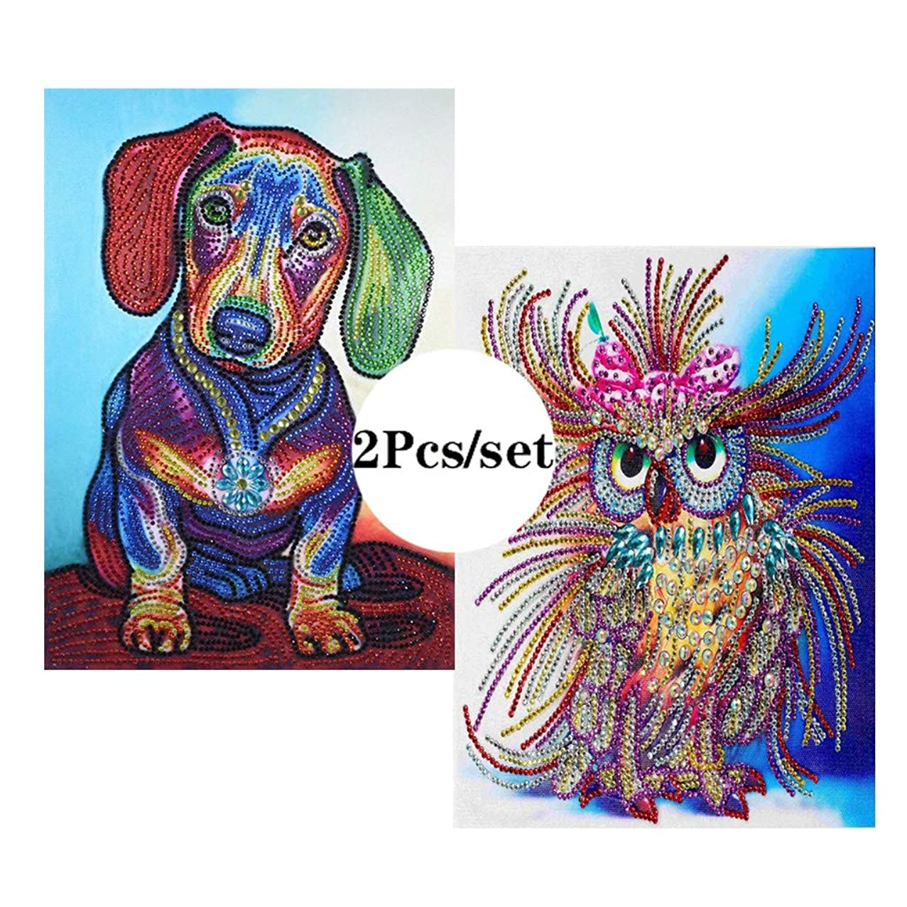 VV&BAOZI Pack of 2 Pieces Special Shaped Diamond Cross Stitch Dog and Owl Paint by Number Kits for Adults and Kids(Canvas Size 15.7''×11.8'')