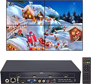 2x2 Video Wall Controller USB+HDMI+VGA+AV Input and TV HDMI Output, Fully-Digital Processing Channel Inside 180 Degree, HD LCD Splicing Screen Seamless led TV Wall Monitor Display 1x3 1x4 2x1 1x2