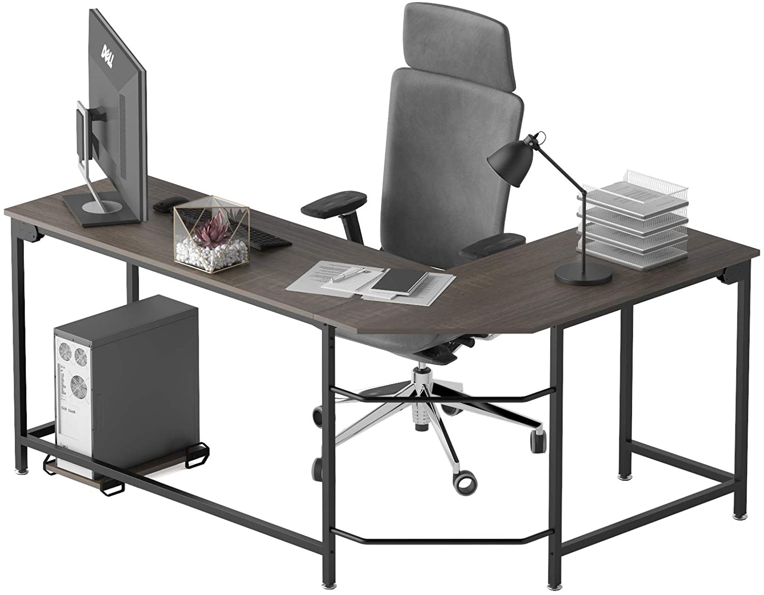 Weehom L Shaped Desk Corner Gaming Computer Desk for Home Office, Easy to Assemble L Desk, Sturdy Writing Table Workstation for Small Spaces
