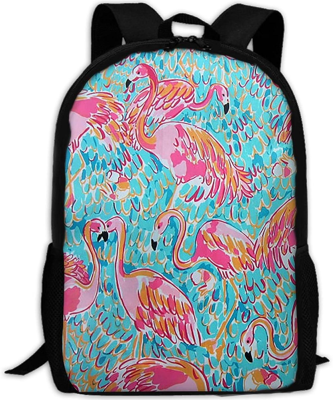 Backpack Laptop Travel Hiking School Bags Playful Flamingo Daypack Shoulder Bag