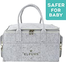 ELFGUS Baby Diaper Caddy Organizer- Portable Holder Bag for Changing Table - Storage Bin for Baby Essentials for Newborn - Nappy Storage Basket for Baby, Infant Nursery Bag for Shower Gifts