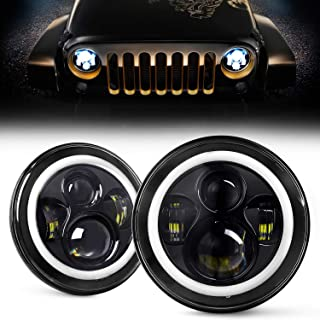 DOT Approved 7 Inch LED Halo Headlights for Jeep Wrangler JK TJ LJ 1997-201, CREE LED Chip, 80W 9600 Lumens Hi/Lo Beam with DRL Amber Turn Signal Light and Halo Ring Angel Eyes 2PCS
