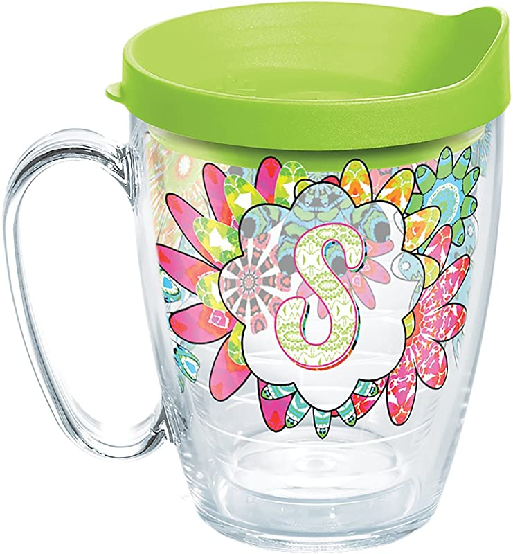 Tervis 1278205 INITIAL S Flower Burst Tumbler With Wrap And Lime Green Lid 16oz Mug Clear