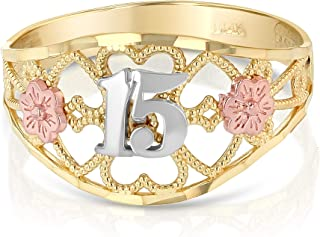14k quinceanera rings