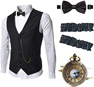 Mens 1920s Accessories Gangster Vest Set - Pocket Watch,Armbands,Pre Tied Bow Tie