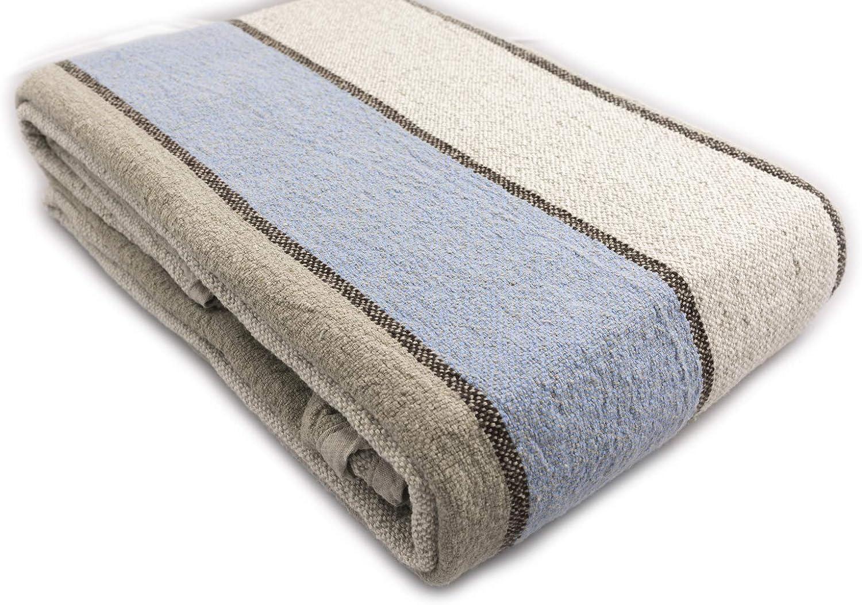 BLESS LINEN 100% Linen Throw Blanket, 87 x 83 Inches, bluee Striped