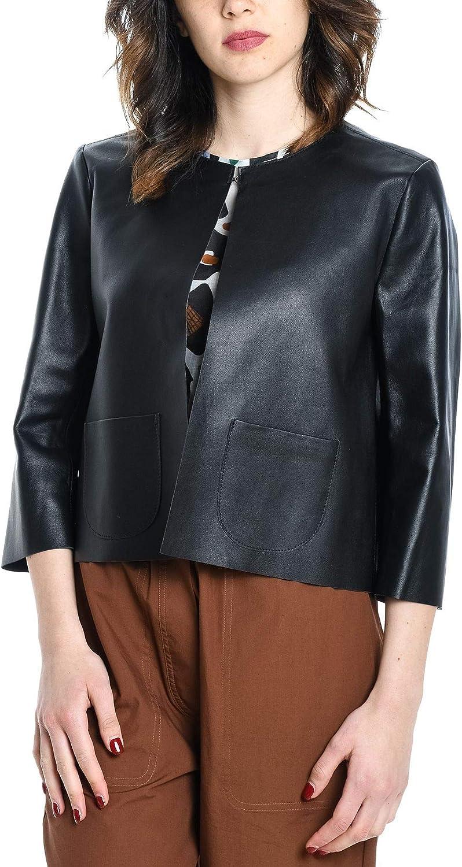 BETTA CORRADI Women's 859200106 Black Leather Jacket