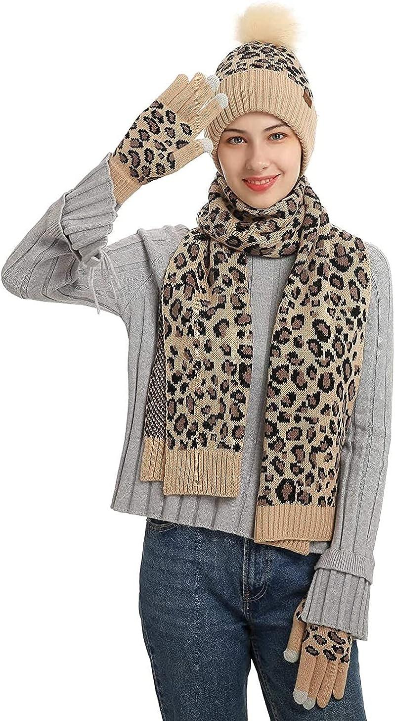 Womens Winter Warm Knit Beanie Hat Touchscreen Gloves Leopard Scarf Set Skull Cap Gloves Neck Warmer for Women