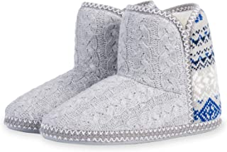 JeathFea Women's Cashmere Cable Knit Bootie Slipper Cozy Memory Foam Slippers Boots Indoor House Shoes