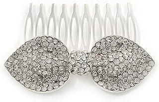 新娘/婚礼/舞会/派对银色透明奥地利水晶蝴蝶结侧发梳 - 65mm