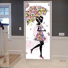 A.Monamour Rosa Paraguas Mariposa Floral Niña con Vestido De Flores Fondos Blancos 3D Imprimir Vinilo Puerta Tatuajes De Pared Murales De Pared Pegatinas Carteles Arte para La Habitación De Los Niños