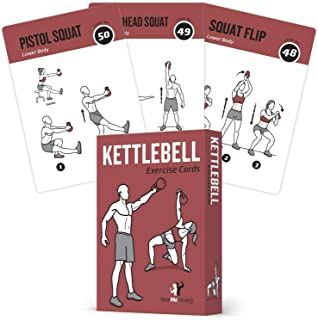 Exercise Cards Kettlebell – Home Gym Workouts HIIT Strength Training Build Muscle..