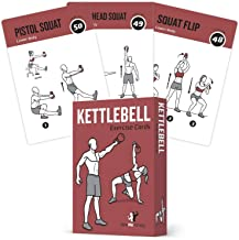"""Exercise Cards Kettlebell Home Gym Workouts HIIT Strength Training Build Muscle Total Body Fitness Guide Training Routines Bodybuilding Personal Learn KB Moves 3.5""""x5"""" Cards Burn Fat"""