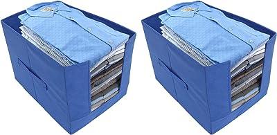 Heart Home Non -Woven 2 Pieces Shirt Stacker Wardrobe Organizer (Blue) CTHH11808