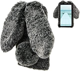 LCHDA Samsung Galaxy S9 Plus Rabbit Case,Samsung Galaxy S9 Plus Rabbit Fur Case Bunny Ear Phone Case for Girls Fuzzy Cute Warm Winter Soft Furry Fluffy Ball Fur Hair Plush Protective Cover-Black