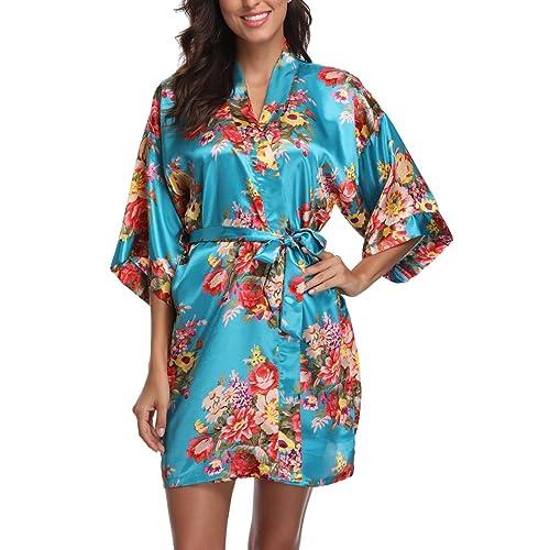 3efe83ed6b Floral Satin Kimono Robes for Women Short Bridesmaid and Bride Robe for  Wedding Party