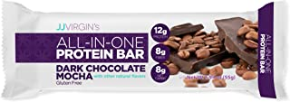 JJ Virgin All-in-One Protein Bar in Dark Chocolate Mocha - Fiber-Rich Vegan Pre/Post Workout Snack Promotes Enhanced Energy - 12 Grams of Protein, 8 Grams of Fiber & MCT Oils (Box of 12)