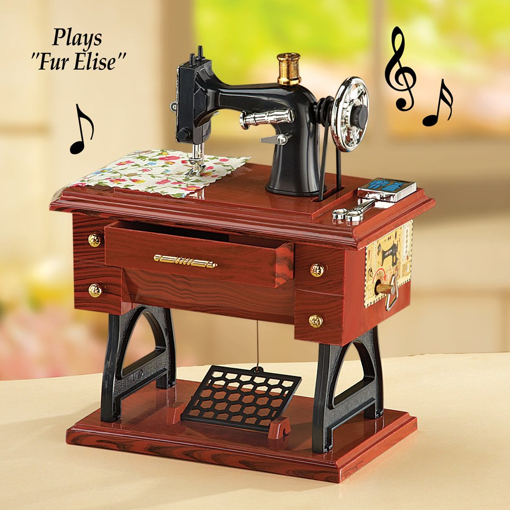 Antiguo máquina de coser caja de música: Amazon.es: Hogar