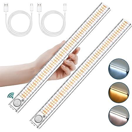 Lampe de Placard 160 LED, 2Pcs Lampe LED Detecteur de Mouvement avec 3 Couleurs, Rechargeable USB Lumiere LED avec 4 Modes et Bande Magnetique Adhésive, pour Garde-robe / Escaliers / Cuisine (#1)