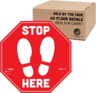 "BeSafe Messaging""Stop Here"", 60 Pack - 12"" Red Stop Signs, Specially Designed for Carpet, Vinyl UL 410 Certified Anti-Slip..."