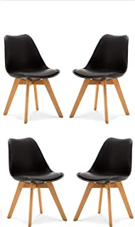 Comfortableplus Pack de 4 sillas de Comedor/Oficina con Madera de Haya Piernas para Comedor/Sala de Estar/Café / Restaurante, Negro