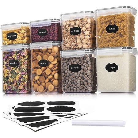 Aitsite Boîte de Conservation Alimentaire 8 Pièces, Boîte à Céréales Sans BPA, Récipient de Stockage Hermétique Pour Céréales, Farine etc (Noir)