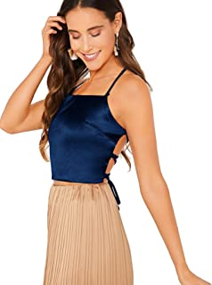 Verdusa Women's Lace Up Backless Halter Cami Crop Top