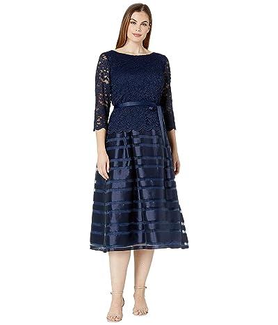 Alex Evenings Tea Length A-Line Mock Dress with Tie Belt (Navy) Women