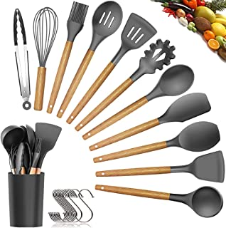 Womdee Silicone Cooking Utensils Kitchen Utensil Set - 11 Pieces Natural Wooden Handles Cooking Tools Turner Tongs Spatula...