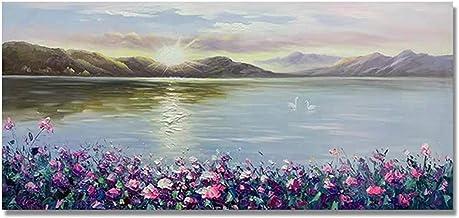 Handgeschilderd Olieverfschilderij - Moderne Natuurlijke Landschap Handgeschilderde Mes Paarse Bloemen Olieverf Canvas Lan...