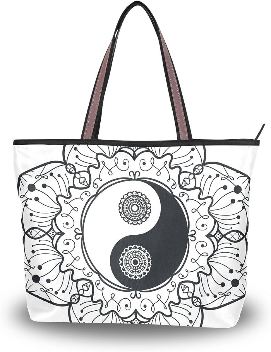JSTEL Women Large Tote Top Handle Shoulder Bags Ying Yang Ba Gua Mandala Patern Ladies Handbag