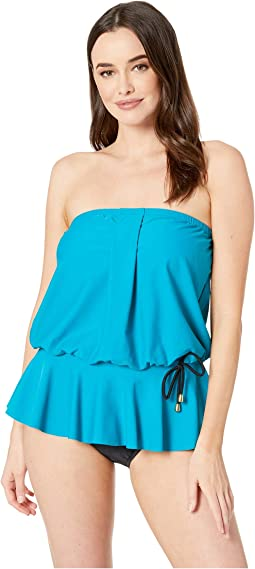 Solids Tricot Over the Shoulder Peplum Mio One-Piece
