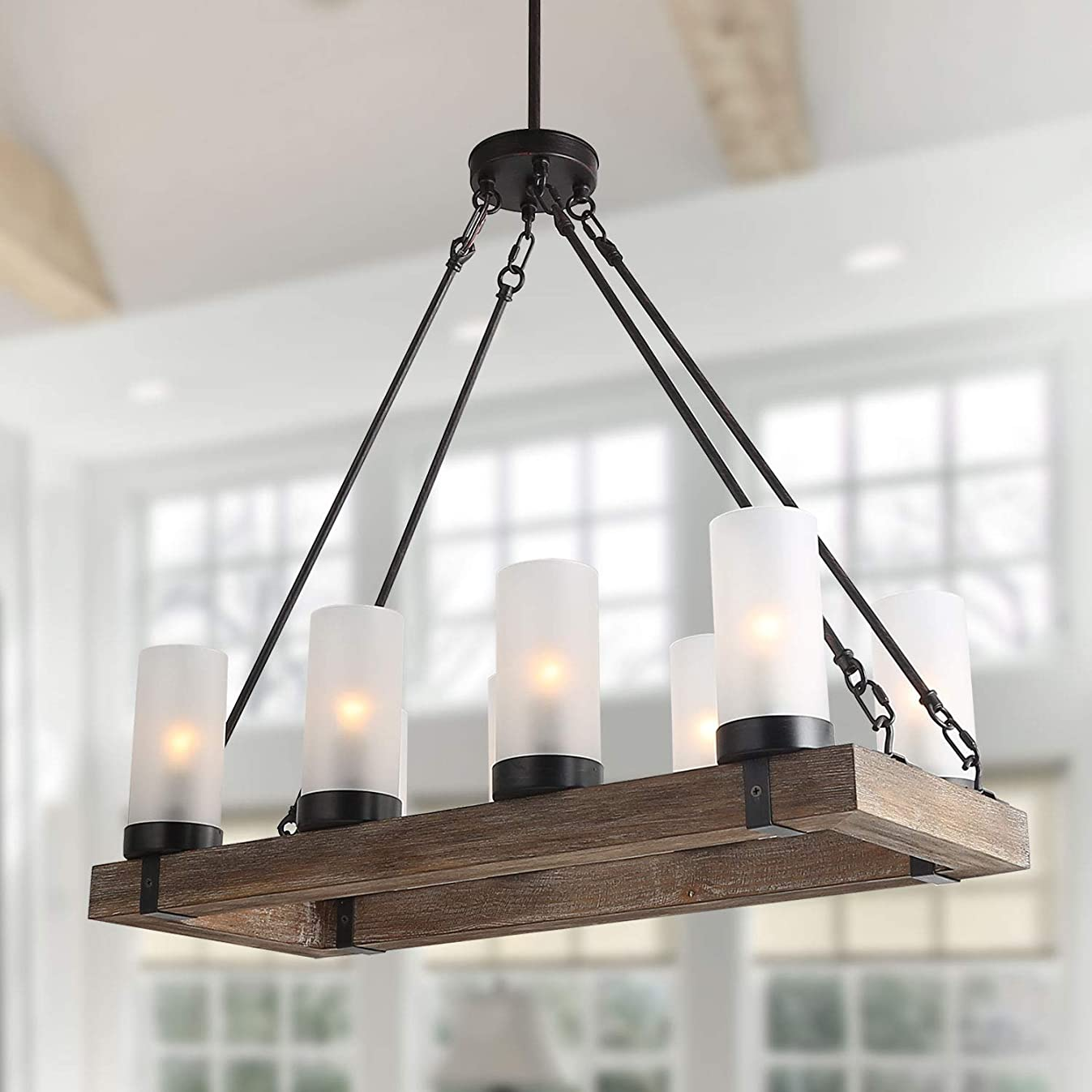 LNC Wood Kitchen Lighting Fixtures Rectangular Farmhouse Chandelier for Dining Rooms, A02988