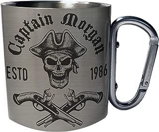 Captain Pirate Skull Stainless Steel Carabiner Travel Mug 11oz w520c