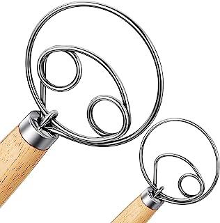 Nlmyt 2Pcs Danish Dough Whisk, Dutch Whisks, Wooden Danish Whisk, 13 Inch Premium Stainless Steel Batter Whisks, Whisk Kit...