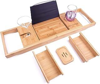Bamxzoo Luxury Bath Caddy Tray for Tub Bath Table Premium Bamboo Bathtub Tray for Tub Fits All Bath Accessories Wine Glass...
