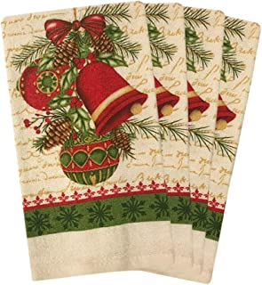 JJ Collection Santa Claus 4 Pack Christmas Towels (Christmas Bell)
