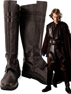 Star Wars Anakin Skywalker Shoes Cosplay Costume Boots Brown