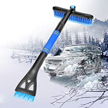 Grattoir /à Glace extensible 2 en 1 Balayant la neige pour pare-brise voiture auto hiver Manche long ajustable Brosse /à Neige