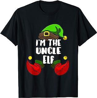 Hombre Uncle Elf Divertido Grupo Navidad Tío Disfraz Camiseta