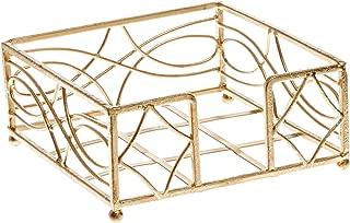 Boston International Cocktail Napkin Caddy, Wave Design in Gold Leaf