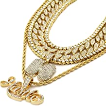 6 pcs Bundle Set 14k Gold Plated Hip Hop Fully Cz Chain H HUSTLE Pendant